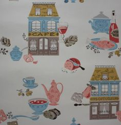 1950's Vintage Wallpaper Kitchen Cafes Bread Loaves Fish Soup