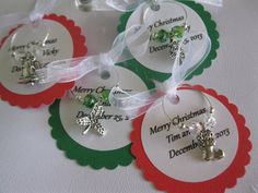 Custom Merry Christmas Wine CharmsSet of 4 by Aglasswithclass, $10.95