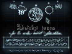http://azuresol.deviantart.com/art/Sketcy-Weather-Icons-Glow-ed-135079488