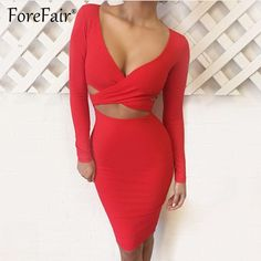 Sexy Criss Cross Bodycon Dress Women Spring Long Sleeve Dress PTC 254 //Price: $19.16 & FREE Shipping //     #fashion