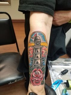 Lighthouse tattoo by Richard - Emerald Tattoo Lodi