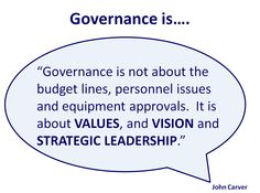 Governance is about the big picture items... values, vision and strategic leadership.