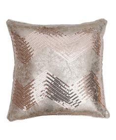 Look at this #zulilyfind! Gold Crackle Zigzag Sequin Pillow #zulilyfinds