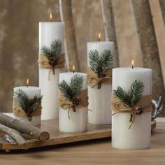 Siberian Fir Fragranced Pillar Candles The Effective Pictures We Offer You About DIY Candles no wax A quality picture can tell you many things. You can find the mo Christmas Decorations For The Home, Farmhouse Christmas Decor, Christmas Candles, Xmas Decorations, Christmas Wreaths, Christmas Crafts, Christmas Christmas, Diy Christmas Decorations For Home, Scandinavian Christmas Decorations