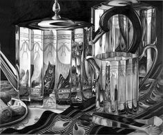 Silver Teapots - Pencil drawing by Jerry Winick