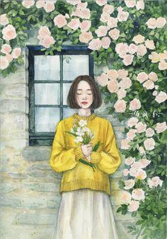 Japon Illustration, Watercolor Illustration, Cartoon Girl Drawing, Cartoon Art, Aesthetic Art, Aesthetic Anime, Anime Flower, Digital Art Girl, Scenery Wallpaper