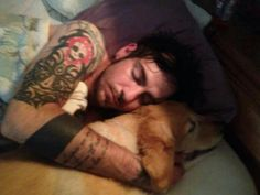 Adam Gontier from three days grace...so cute! I just looove finding pics of my fav musicians with animals ♡ two of my loves!