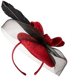 San Diego Hat Company Women's Derby Dress Jacquard Fascinator Hat, Red, One Size