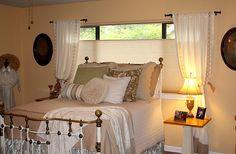 Duette Honeycomb Shades with Top-Down/Bottom-Up provide perfect privacy for the bedroom. Austin Window Fashions
