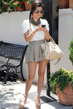 Top: Rebecca Minkoff  Shorts: Bec & Bridge Wild and Free Shorts  Shoes: Christian Louboutin Super Dombasle Sandals  Sunglasses: Tom Ford Rhonda Sunglasses  Bag: Balenciaga Classic City Tote