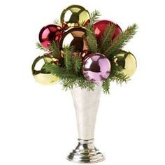 Unique ornaments arrangement in a vase - Adirondack Girl @ Heart: Decorating with Vintage Christmas Bulbs