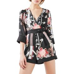 Women's Topshop Tokyo Floral Wrap Romper ($95) ❤ liked on Polyvore featuring jumpsuits, rompers, black multi, floral kimono, topshop rompers, topshop romper, floral print romper and flower romper