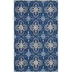 Safavieh Hand-Hooked Indoor/ Outdoor Four Seasons Navy/ Ivory Rug (5' x 8')