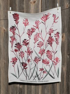 My watercolour depiction of a Kangaroo Paw (Anigozanthos hybrid), digitally printed on a buttery soft linen tea towel. The perfect gift to send to family and friends interstate or overseas. Size: x Gentle machine wash, dry in shade. Textiles, Textile Prints, Australian Gifts, Watercolor Design, Watercolour, Kangaroo Paw, Flower Tea, Pretty Patterns, Botanical Art