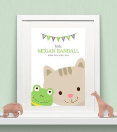 Personalised Baby Print - Peeking Animals - Frog & Kitty