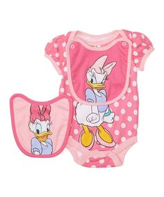 Pink Daisy Duck Bodysuit & Bib Set - Infant