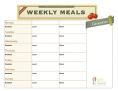 Free printable meal plan. Courtesy of FoodieRachel :)