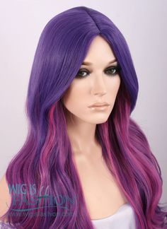 """31"""" Long Curly Mixed Purple Ombre Fashion Synthetic Hair Wig TBZ961"""
