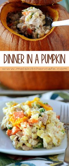 This dinner in a pumpkin is a super fun Halloween night dinner.