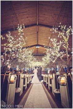 Browse our Indoor wedding photo gallery for thousands of beautiful wedding pictures. Find amazing wedding ceremony ideas and get inspiration for your wedding. Church Wedding Decorations Aisle, Rustic Church Wedding, Wedding Church Aisle, Church Ceremony, Wedding Themes, Winter Church Wedding, Church Weddings, Wedding Entrance, Field Wedding