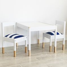 Such a great idea/diy Here is the full set all done! IKEA LÄTT children's table for a playroom! Ikea Table Hack, Ikea Chair, Diy Chair, Ikea Furniture Hacks, Ikea Hacks, Ikea Hack Kids, Kids Furniture, Plywood Furniture, Furniture Stores