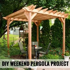 DIY Weekend Pergola Project @Chelsea Rose Rose Rose Rose Gregor right? Right? For your cement pad!