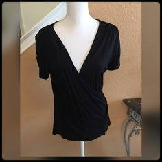 ✨ Black Shirt ✨ This gorgeous shirt was worn only once. The details on the front on of the shirt is sexy! Sarah Spencer Tops Blouses
