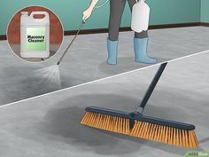 How to Seal Concrete Floors. Concrete is great material that can provide a durable surface for a floor. Whether your concrete floor is in your living room, in the basement, or in the garage, it is porous, and you should seal it properly to. Bathroom Concrete Floor, Seal Concrete Floor, Concrete Basement Floors, Concrete Cleaner, Painting Basement Floors, Painted Concrete Floors, Painting Concrete, Stained Concrete, Basement Remodeling