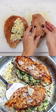 These stuffed chicken breasts are easy to make and delicious that's loaded with a cheese and broccoli mixture for a perfect low carb and tasty meal. Healthy Chicken Recipes, Lunch Recipes, Healthy Dinner Recipes, Keto Recipes, Cooking Recipes, Chicken Beast Recipes, Easy Stuffed Chicken Recipes, Steak Dinner Recipes, Baked Stuffed Chicken