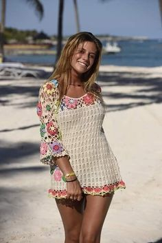 Best 12 Such a lovely crochet cover up tunic/dress made in beige color with colorful edges – SkillOfKing. Crochet Beach Dress, Crochet Summer Dresses, Crochet Skirts, Crochet Cardigan, Crochet Clothes, Crochet Bikini, Knit Crochet, Crochet Cover Up, Vintage Crochet Patterns