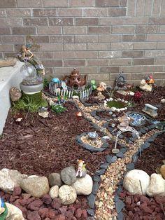 Fairy Garden: Magic Mushroomville, my fairy garden :) I could do this in the back yard. Mini Fairy Garden, Fairy Garden Houses, Gnome Garden, Garden Art, Fairies Garden, Garden Paths, Fairy Village, Fairy Doors, Miniature Fairy Gardens