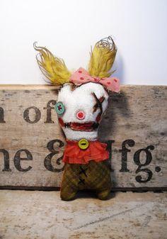 Handmade Art Doll Wee Trudy Blue by JunkerJane on Etsy