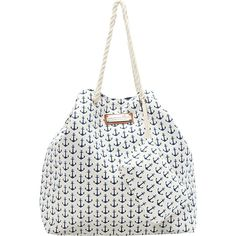Caribbean Joe Accessories Anchors Away Tote (1,545 PHP) ❤ liked on Polyvore featuring bags, handbags, tote bags, blue, anchor tote, white tote, blue tote handbag, white handbags and anchor tote bag