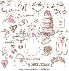 stock-vector-wedding-doodles-sketchy-vector-illustration-98234066.jpg (450×461)