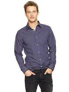 Non-Iron square plaid shirt - No more ironing or dry cleaning! Specially treated fabrics, taped seams, and tight topstitching make our new non-iron dress shirts crease-free right out of the dryer. In a range of colors and patterns, and with a new improved fit, theyre an amazingly low-maintenance wear-anywhere option.