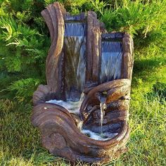 With its organic log look and soothing rushing water sound, this Henri Studio Twin Falls Log Lighted Outdoor Fountain is a beautiful way to replace. Rock Fountain, Waterfall Fountain, Barrel Fountain, Fountain Ideas, Indoor Fountain, Outdoor Water Features, Water Features In The Garden, Ponds Backyard, Backyard Landscaping
