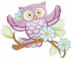 Owl Branch 5 - 3 Sizes! | Birds and Birdhouses | Machine Embroidery Designs | SWAKembroidery.com Ace Points Embroidery