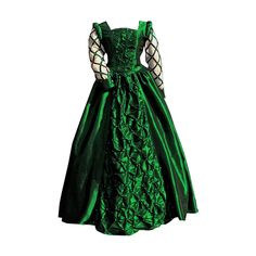 green pearl renaissance gown ❤ liked on Polyvore featuring dresses, gowns, medieval, costumes and green