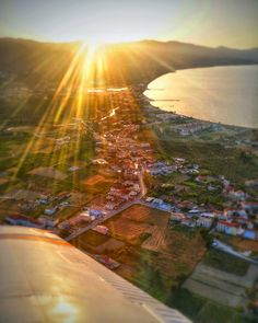Zakynthos Island Images: The Sun Sets As We Fly Over Alykanas  Photography by Alistair Ford