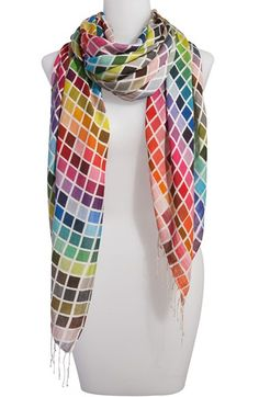 I want this scarf! Tolani 'Bright Mosaic' Silk Scarf - looks like Pantone swatches! Cute Scarfs, Ootd, Silk Scarves, Scarf Styles, Style Me, Cute Outfits, Ravelry, Style Inspiration, Stylish