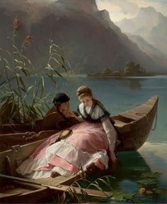Rendevous, 1870 , by Arthur Georg von Ramberg (Austrian / German Victorian Paintings, Victorian Art, Romantic Paintings, Beautiful Paintings, Love Painting, Painting & Drawing, Dress Painting, Art Ancien, Kunst Online