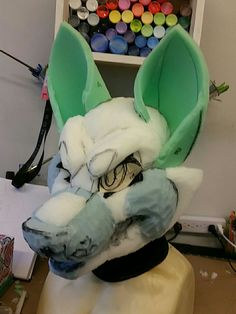 Fursuit head, grumpy foam base
