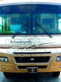 Bugs sticking to your RV? Prevent it! By putting baby oil on the front of RV and truck, wipe off bugs with a wet cloth
