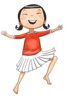 illustration girl dancing kids