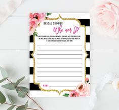 Bridal Shower Who am I Game, Kate Bridal Shower Games, Memories of Bride Game, Printable Spade Shower Party, Floral Who am I Bridal Quiz by SweetRainDesign on Etsy