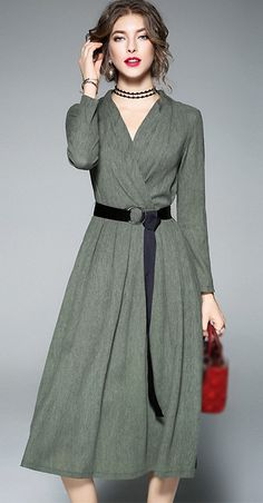 Brief V-Neck Long Sleeve Belted A-Line Dress