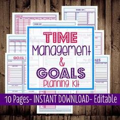 Printable Daily Planner, Monthly, Weekly, To Do List, Calendar-Time Management & Goals Planning Kit-9 Sheets-Dots-INSTANT and EDITABLE by eugenia