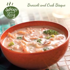 Broccoli and Crab Bisque Recipe from Taste of Home -- shared by Dorothy Child, Malone, New York Bisque Soup, Crab Bisque, Bisque Recipe, Chili Recipes, Soup Recipes, Cooking Recipes, Healthy Recipes, Seafood Dishes, Soups