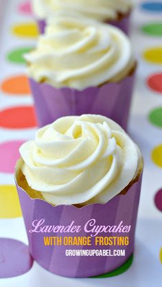 Lavender Cupcakes with Orange Frosting {made with essential oils}