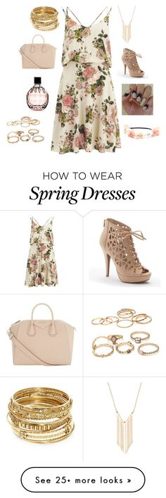 """""""Spring, strap dress"""" by amna15 on Polyvore featuring VILA, Gemelli, ABS by Allen Schwartz, Apt. 9, Givenchy and Jimmy Choo"""